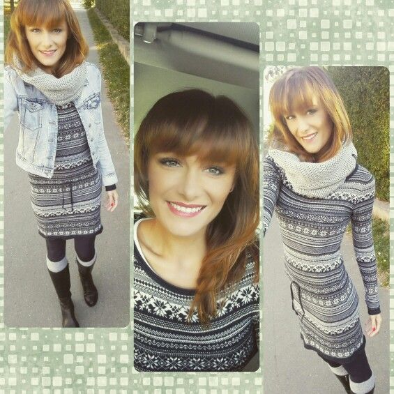 Knitted dress in nordic style
