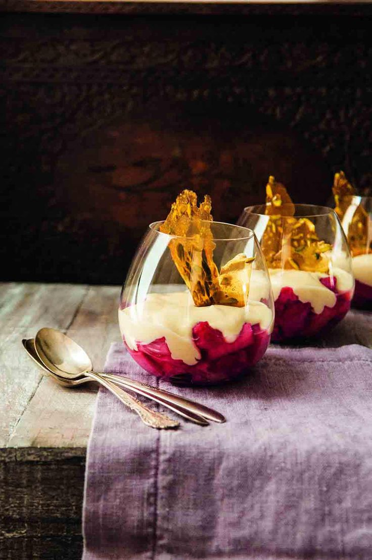 Rhubarb compote with cardamom custard and pistachio crackle