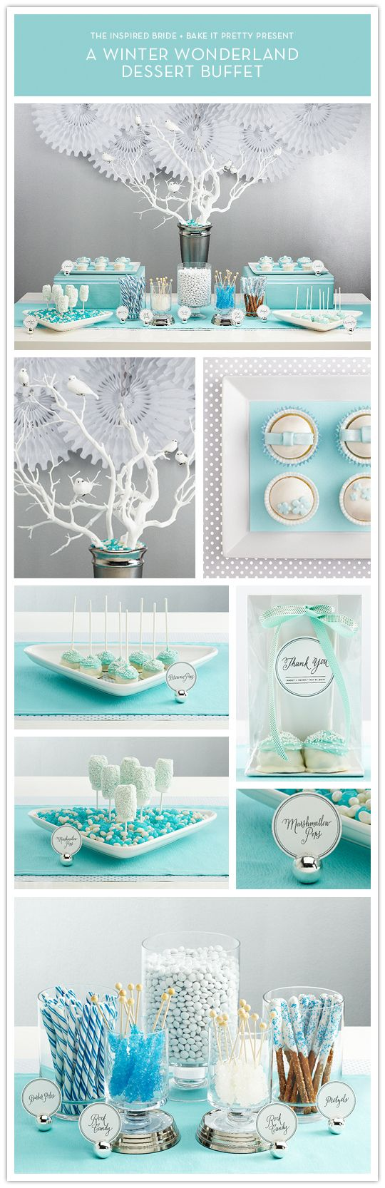 Love the little white doves on the white tree branches for bridal shower