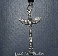 Thunderbird Totem Pole design Necklace - pewter on chain - small size #105s