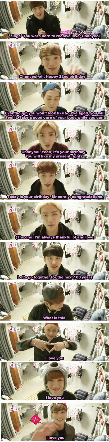 This is so sweet. ^_^  Lol, except for BAEK'S!  BAEKHYUN. Is that really any way to wish your fellow member a happy birthday? xP