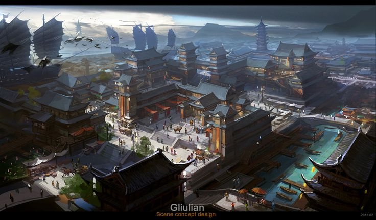 The ancient city of Hangzhou, G liulian on ArtStation at http://www.artstation.com/artwork/the-ancient-city-of-hangzhou