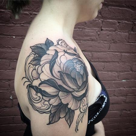 Tattoos - Peony shoulder cap tattoo - 117721