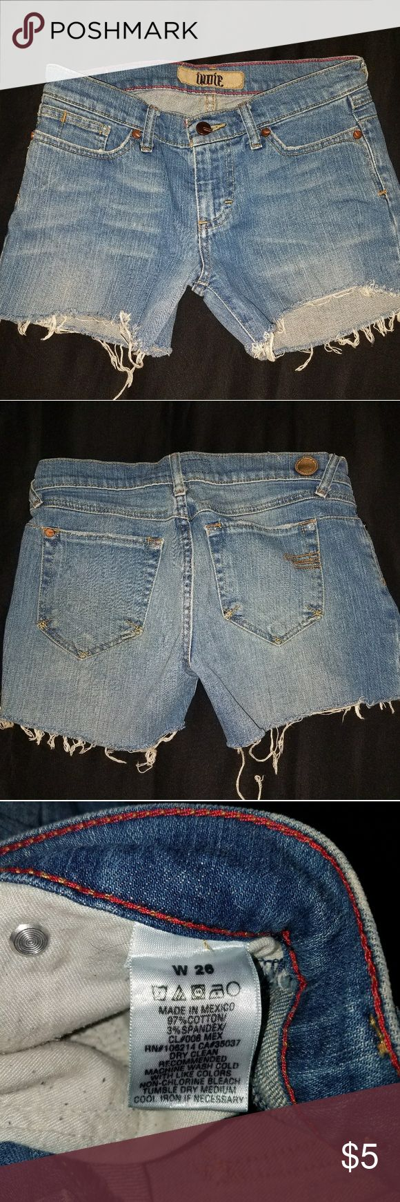 Indie Jeans Cutoff Shorts size 26 Indie jean cutoff shorts size 26. Worn a couple of times years ago, they've been in the bottom of a drawer since. These are not super short. No wear or fraying with exception of the legs where they are supposed to. Come from a pet friendly home. Jeans