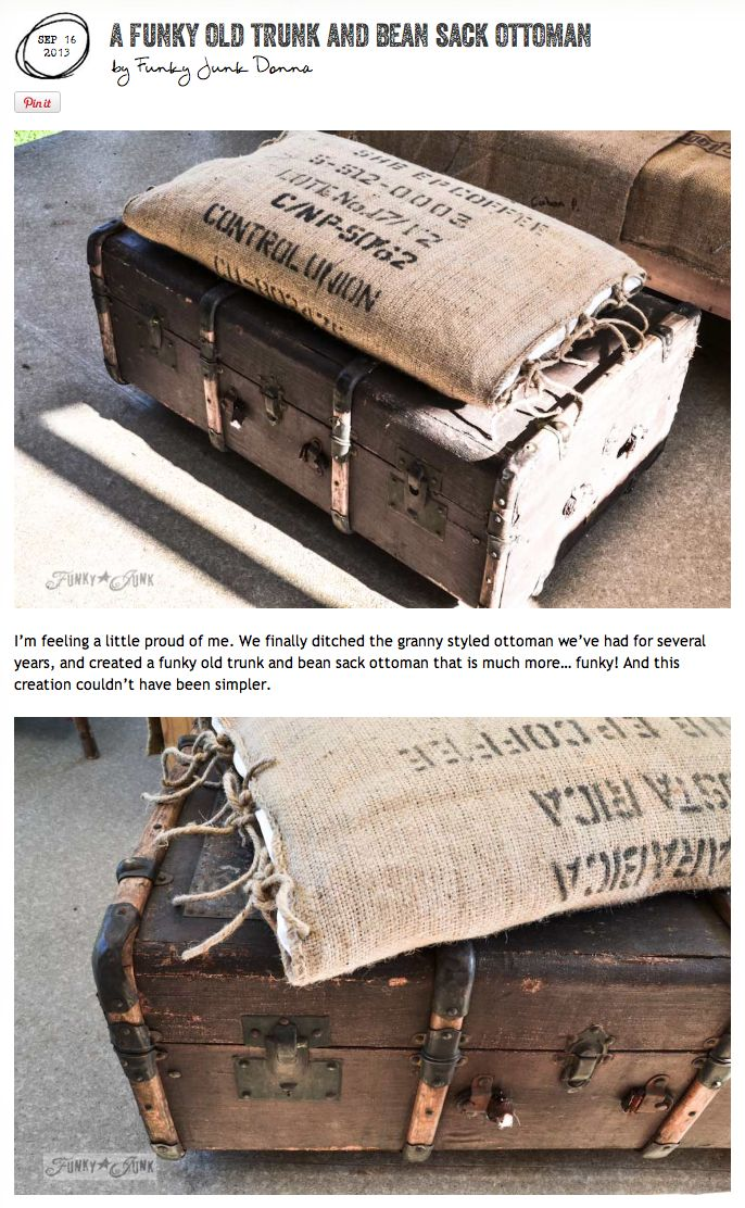 A funky old trunk and coffee bean bag pillow ottoman... on wheels. So easy to make and cool to have! via www.funkyjunkinte...