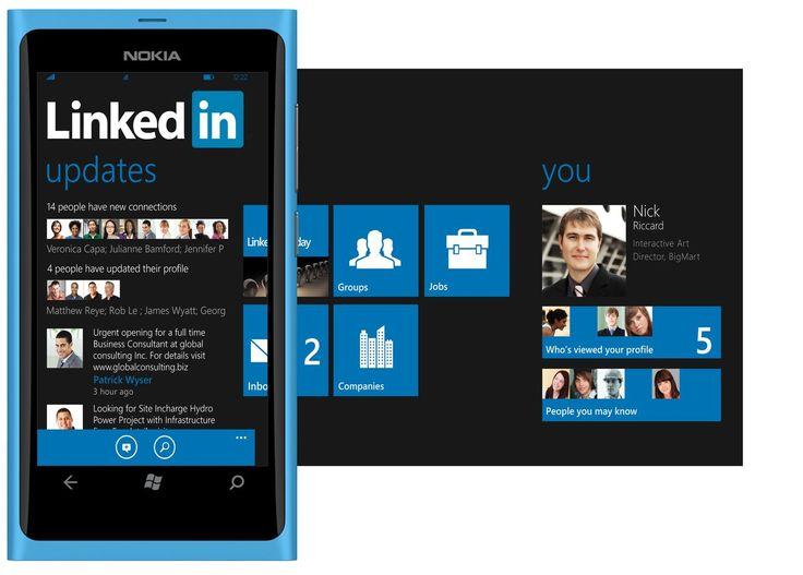 Blue Nokia Windows Phone with panorama.