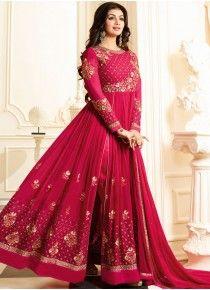 Ayesha Takia Hot Pink Faux Georgette Floor Length Anarkali Suit