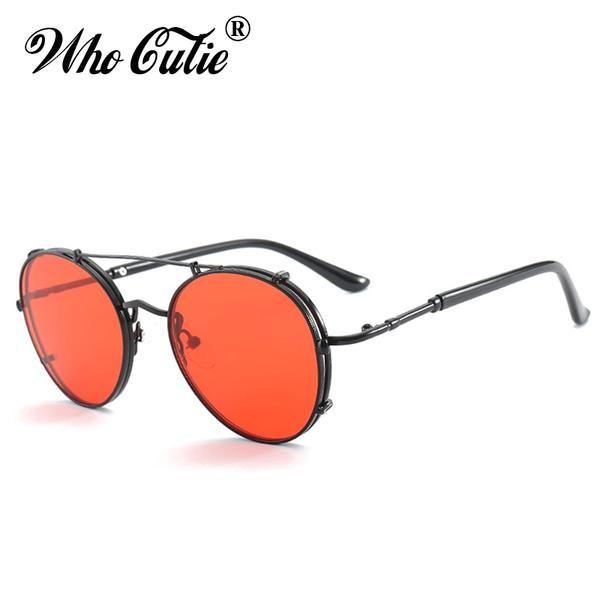 Fashion Round Metal Steampunk Sunglasses Unisex Retro Vintage Red Lens Eyewear