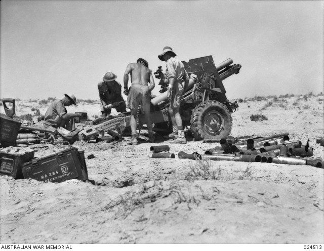Gunners of 2/8th Australian Field Regiment firing a 25-pounder during the battle of El Alamein. Artillery was used at El Alamein on a massive scale, supporting the infantry when they went forward, and protecting them when they were counterattacked. 12 July 1942