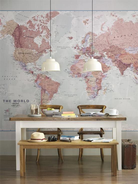 queria tanto uma parede de mapa-mundi...