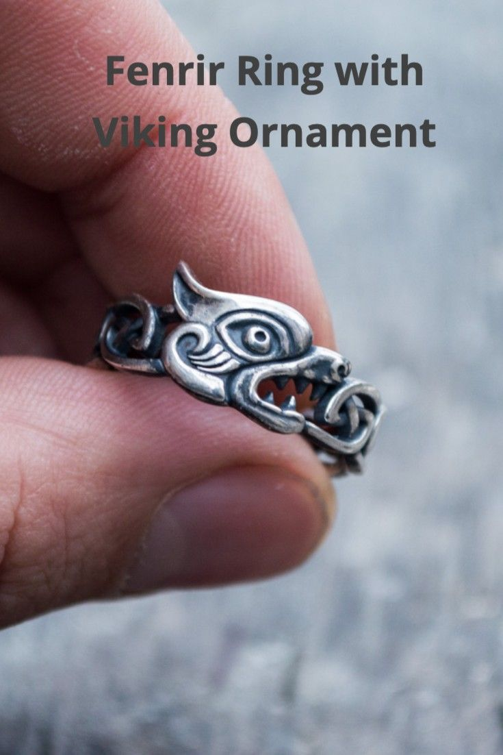 Fenrir Ring with Viking Ornament Bronze Norse Jewelry