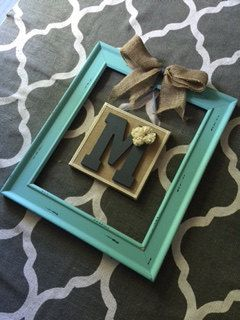 Turquoise Rustic Open Frame With Hanging Burlap Canvas Initial Frame Rustic Home Decor Rustic