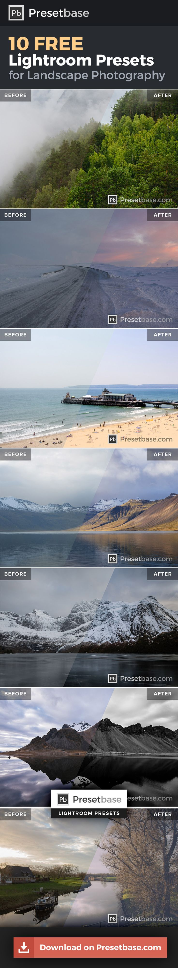 10 FREE Lightroom Presets for Landscape Photography by @presetbase / Download all samples and see how these presets will save you a lot of time editing your photos in Lightroom!
