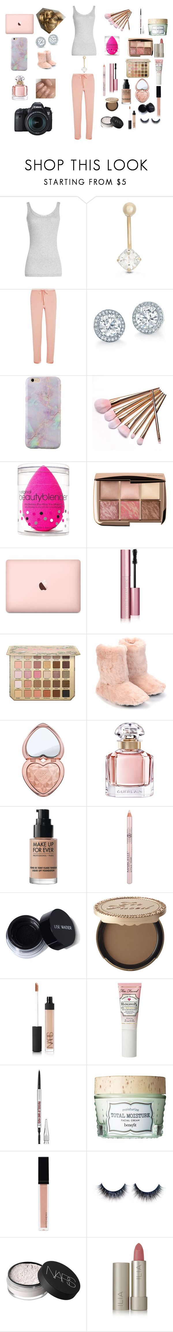 """""""Makeup Tutorial"""" by fashionistagirl989898 ❤ liked on Polyvore featuring Vince, Gioelli, I.D. SARRIERI, beautyblender, Too Faced Cosmetics, Bedhead Pajamas, Guerlain, MAKE UP FOR EVER, NARS Cosmetics and Benefit"""