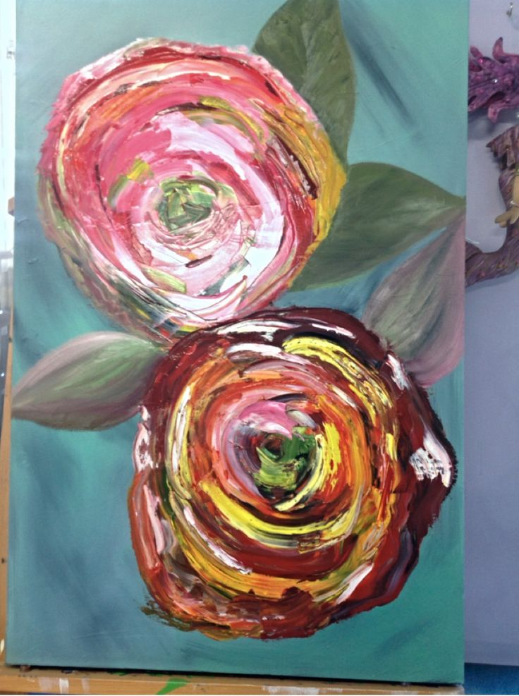Abstract roses in oil for Jacki