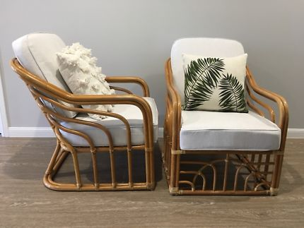 2 x Mid Century leather bound Coastal Cane Armchairs  | Armchairs | Gumtree Australia Brisbane South East - Gumdale | 1169459917