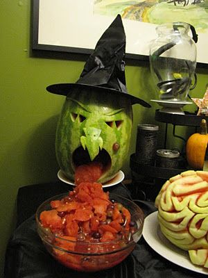 Fruit salad vomiting melon witch! What's awesome is that the brain on the side is *also* a watermelon.