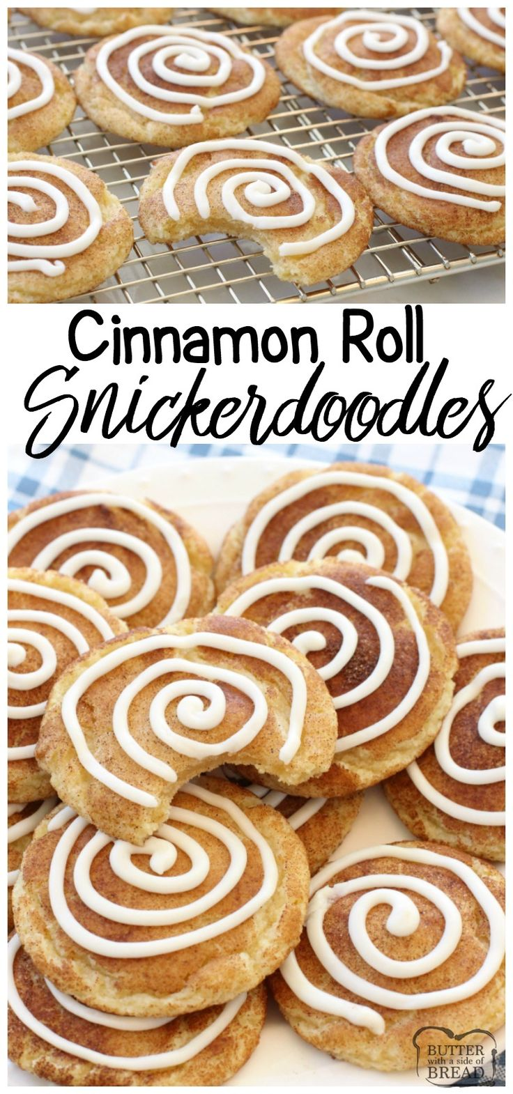 THE BEST Snickerdoodle Cookie recipe plus the fun addition of a sweet vanilla swirl make these Cinnamon Roll Snickerdoodles completely irresistible! Easy cookie recipe from Butter With A Side of Bread via @ButterGirls