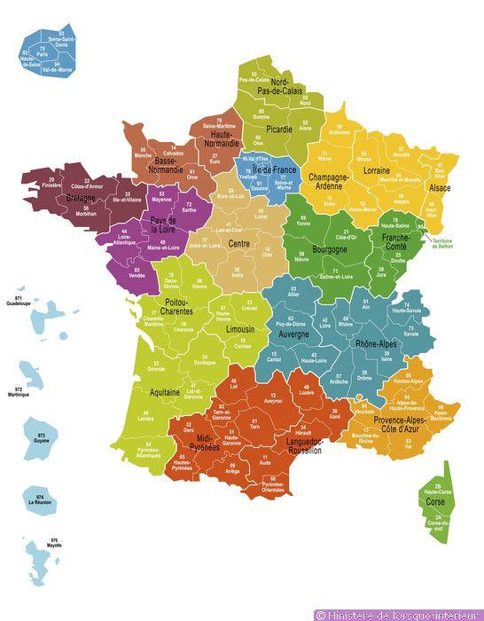 Carte des 13 nouvelles régions au 1er Janvier 2016