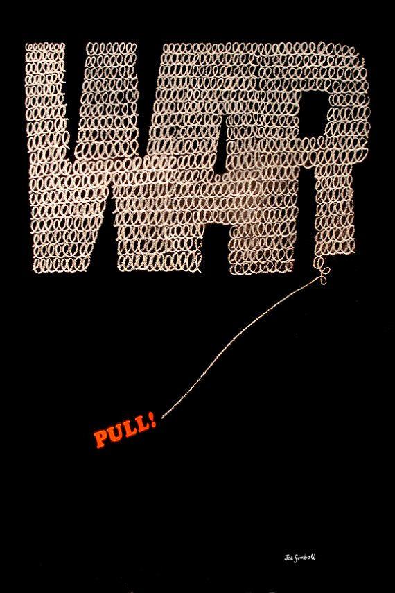 Giclée-Druck Vintage Anti-Kriegs-Plakat von 1968 von Simboli