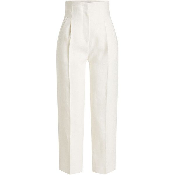 Rosetta Getty Cropped Pants ($1,095) ❤ liked on Polyvore featuring pants, capris, white, cropped trousers, pleated pants, pleated cropped trousers, cropped capri pants and linen trousers