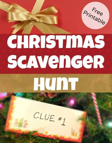 Christmas Scavenger Hunt Clues for hiding Christmas Gifts - great for kids! Free Printable clues to lead kids around the house on a gift hunt, great for surprising kids with big gift ideas #christmasgifts