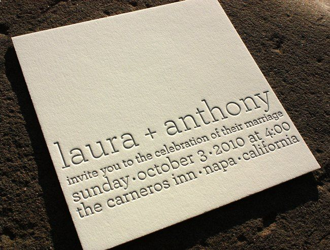 One color letterpressed, modern wedding invitation by http://lioninthesunps.com
