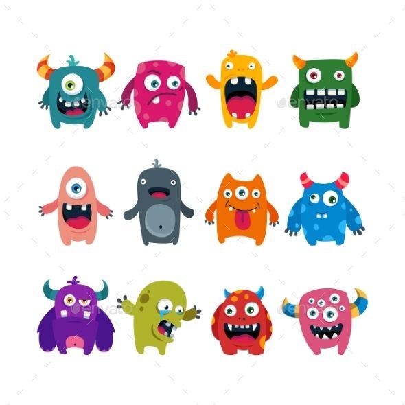 Set Of Cartoon Monsters Cute Monsters Drawings Cartoon Monsters Cute Monsters