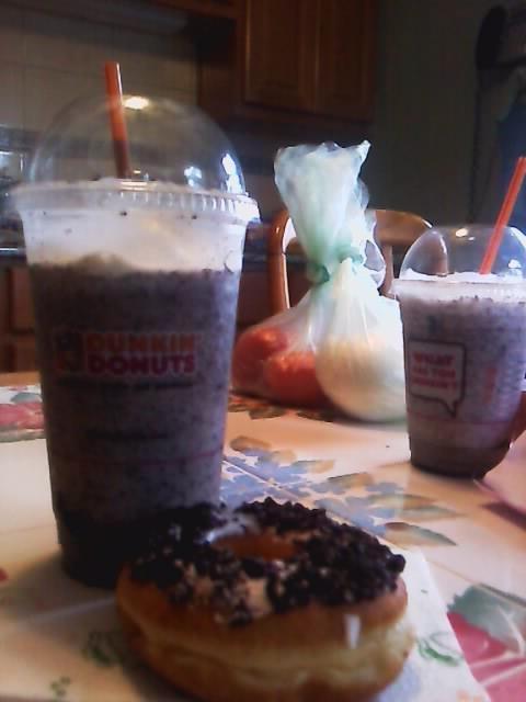 Oreo donut & Oreo Coolata from Dunkin Donuts.
