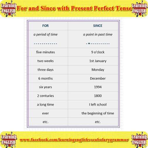 For and Since with Present Perfect Tense  We use Present Perfect tense to talk about action which started in the past and continues up to the present. For and since are used with the present perfect to indicate time.  For  We use for to talk about a period of time (a few days, half an hour, two years...)  Examples:  He has studied in Dublin for 3 years. We have worked for 2 hours.  Since  We use since to talk about a specific point in time, or a time when the action started (last year, June…