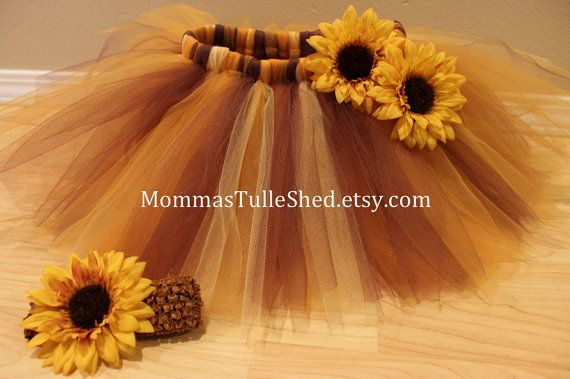Thanksgiving Tutu and Sunflower Headband by MommasTulleShed, $20.00