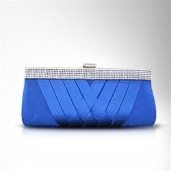 Royal Blue Rhinestones & Satin Wedding Clutch Bag