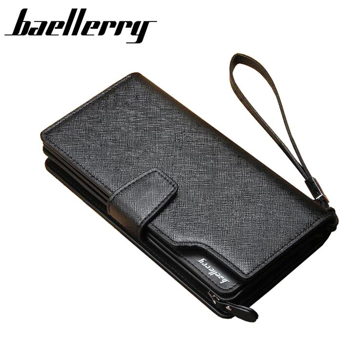 Baellerry Brand Men Wallets Black Long Standard Purses PU Leather Clutch Wallets Business Mens Wallets Clutch Bag With Strap