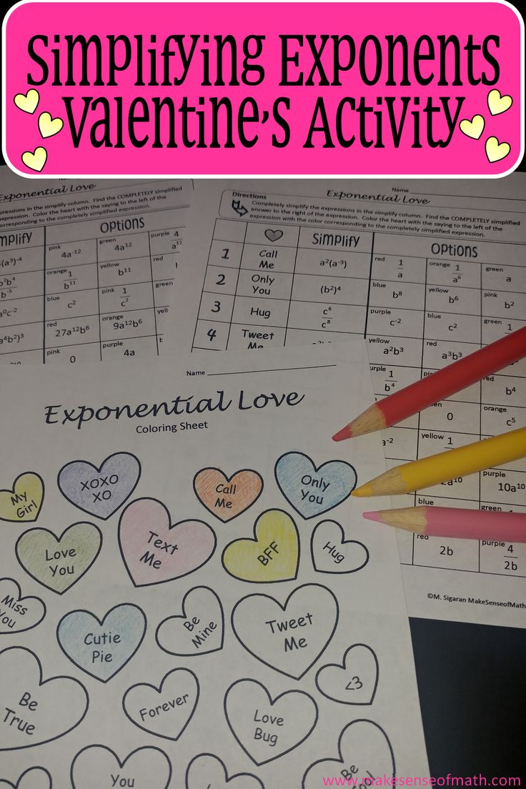 Students practice simplifying exponents in this Valentine's Day coloring activity. 20 expressions to practice the product rule, power rule, quotient rule, and negative exponents. Students are engaged as they color a conversation heart worksheet.   This is great to keep your students' attention. An answer sheet is also included.