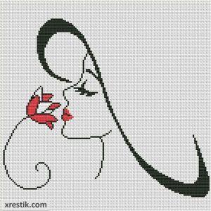 Девушка с цветком №3 Люди Монохром  Схема для вышивки scheme for cross stitch