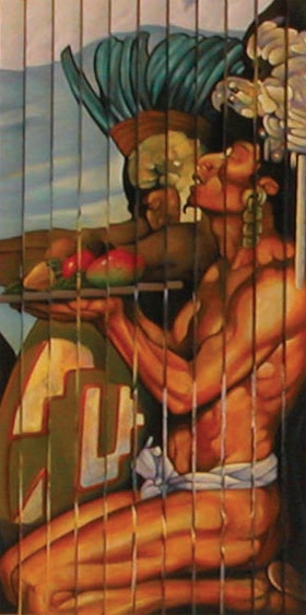 """Mexican Heritage Plaza  Detail of Plaza's Mural  """"Public Art"""""""