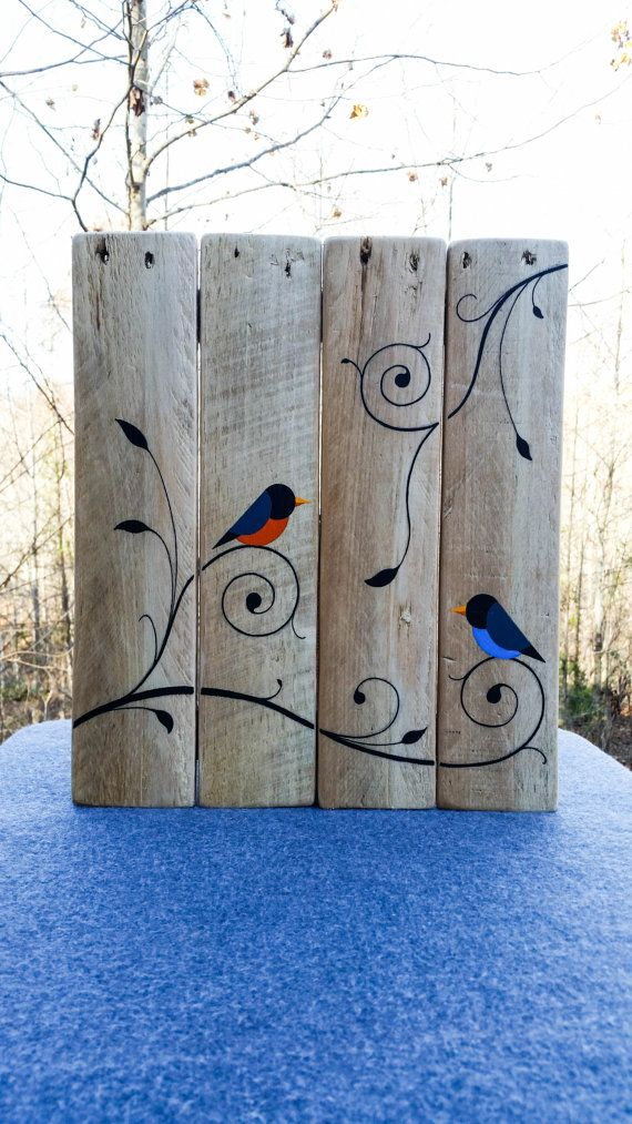 Ready to hang, painted birds and vines on reclaimed wood from pallets. 13 x 15