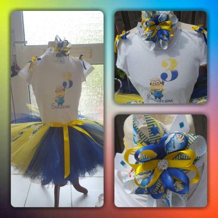 Minions 3th birthday tutu dress/outfit. Verjaardag tutu setje van tule.
