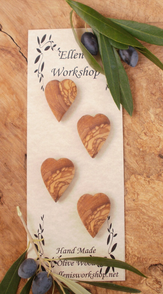 Hand made Greek olive wood Heart shaped toggle by ellenisworkshop, $29.00