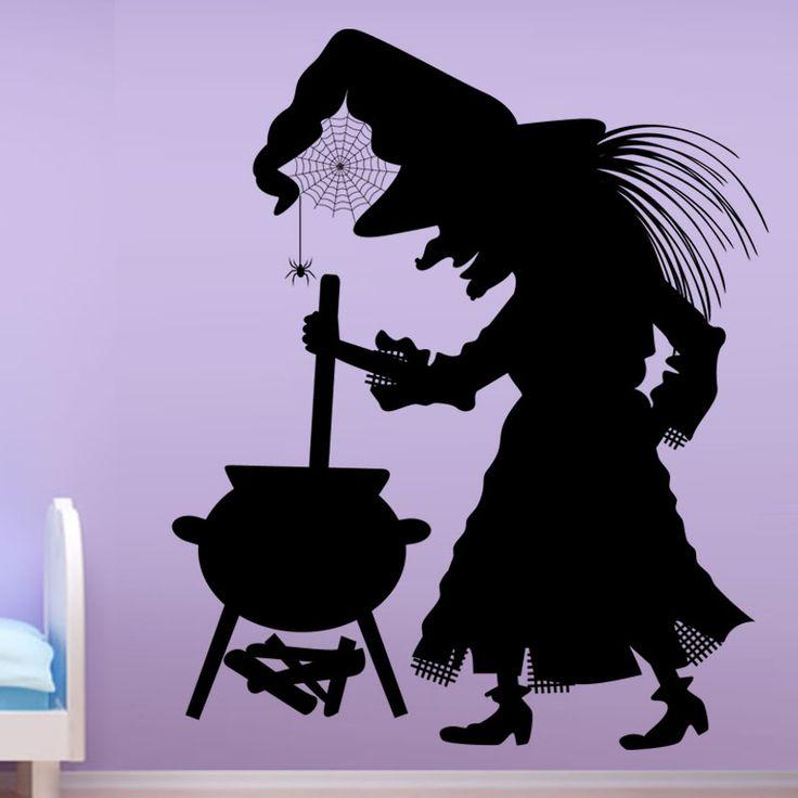 Котел Паук Ведьма Стикер Хэллоуин Home Decor Виниловые Съемный Искусство Наклейки На Стены Для Детей Спальня купить на AliExpress