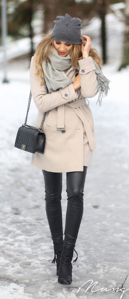 #winter #fashion / cream coat + leather