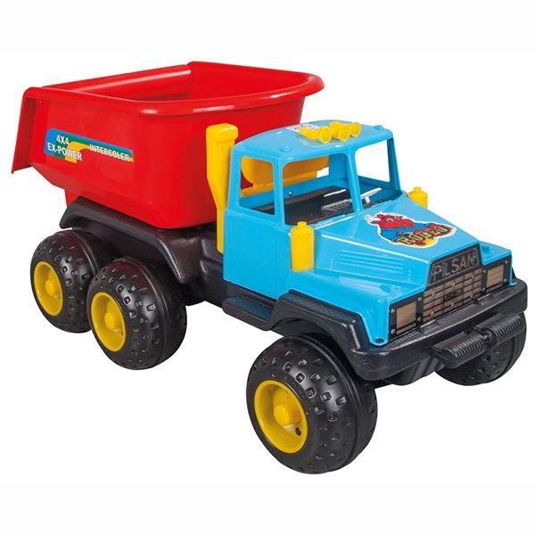 Pilsan Грузовик Родео  Грузовик Родео - яркая игрушка для игр на улице.   Большой грузовик привлечет детское внимание и позволит придумать много увлекательных игр. При помощи грузовика ребенок сможет активно развивать воображения, сочиняя все новые игры, а также координацию движений и восприятие цветов.   Грузовик имеет большие колеса и откидной кузов, в который можно положить мелкие предметы или насыпать песок.  Максимальная нагрузка 5 кг. Модель имеет большие рельефные пластиковые колеса…