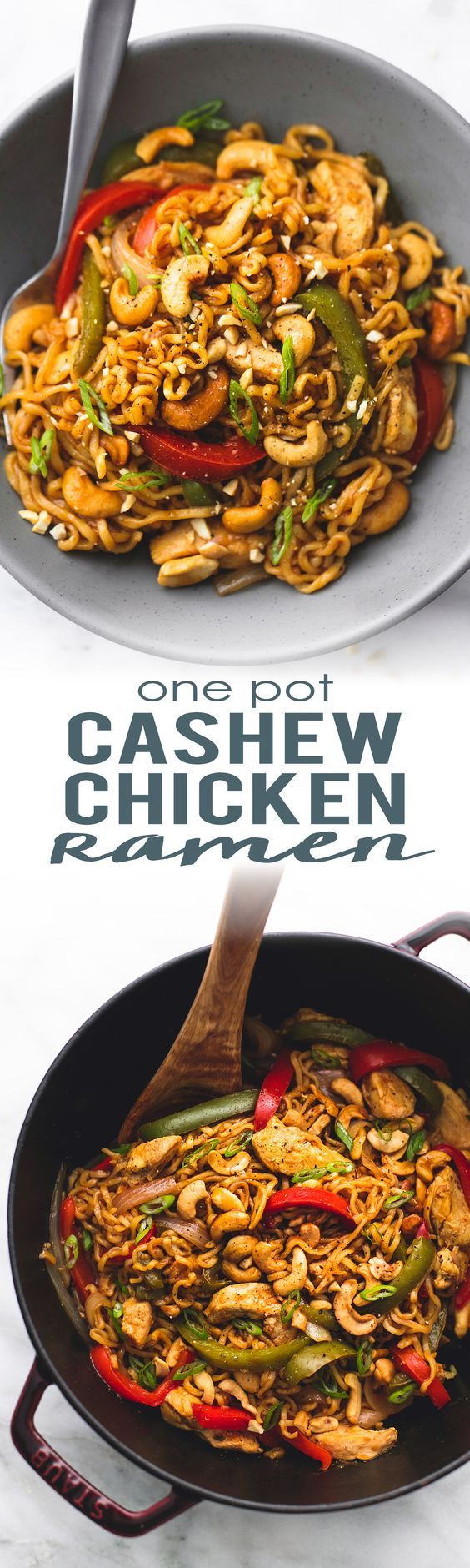 30 minute One Pot Cashew Chicken Ramen with veggies and a sweet n' savory Asian cashew stir fry sauce. | lecremedelacrumb.com