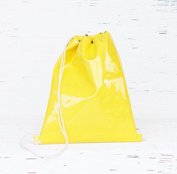 Womens & mens eco leather gym bag Vegan drawstring backpack Yellow cinch sport bag Handmade eco-friendly backpack Unisex street style sack