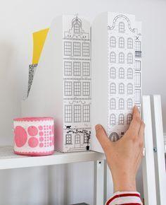Magazinhalter  mit Amsterdammer Grachtenhäusern bemalen - Deko Idee für das Büro
