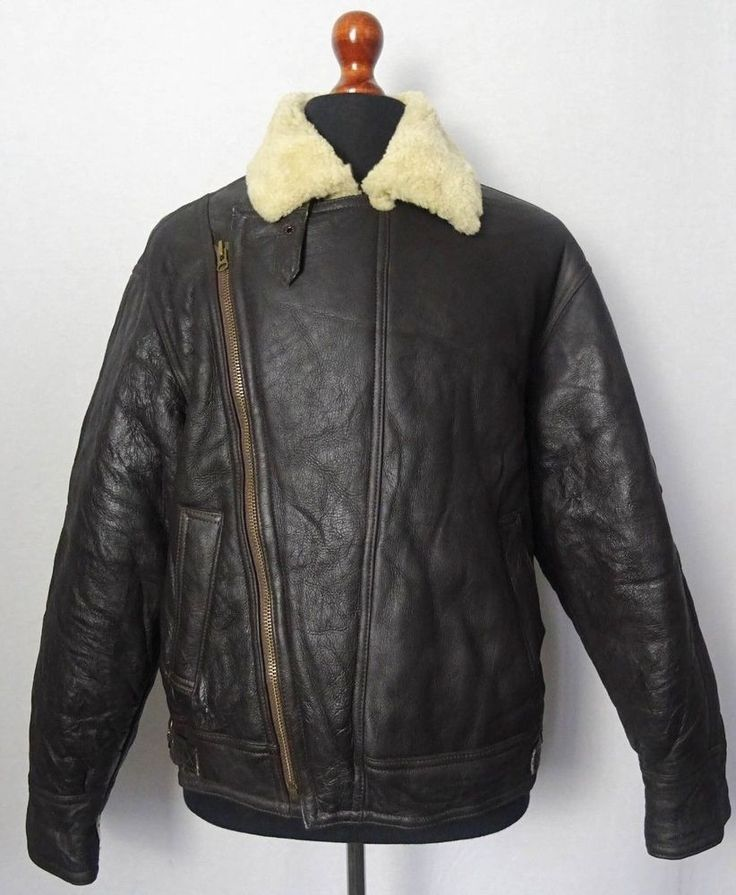 Vintage Sheepskin Shearling B3 Bomber Jacket Flying Pilot Aviator Coat 44R KB115