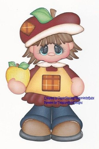 Premade Apple Girl Paper Piecing for Scrapbook Pages by Babs   eBay