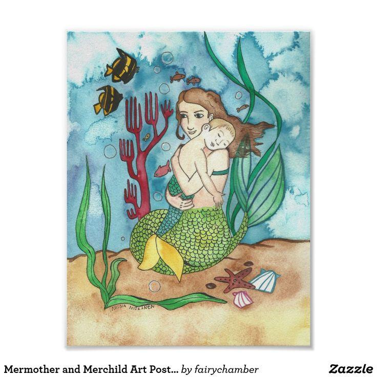 Mermother and Merchild Art Poster 8 x 11