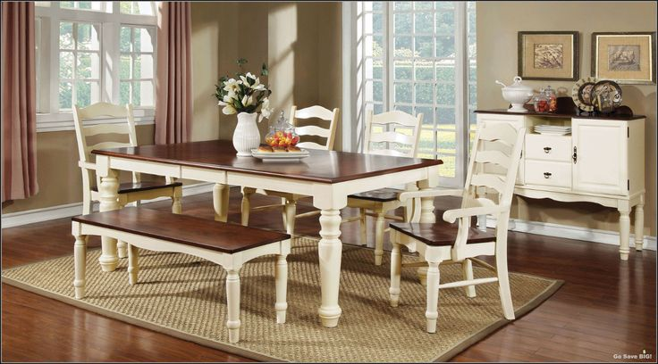 """6-Pc Dining Set Contemporary Farmhouse Country Style Table Chairs Kitchen Room....Go Save BIG! Perfect Wooden Dining Set...Great Price Great StyleGreat Look! Product Description: Hokku Designs Primrose Country 6 Piece  Cherry seats contrast beautifully with cream white frame Ladder back chairs with turned legs Weights & Dimensions: Table Length When Fully Extended: 78"""" Table: 31"""" H x 42"""" W x 60"""""""