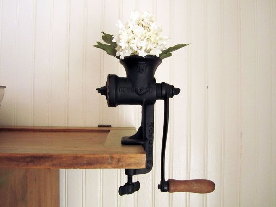 these remind me so much of my childhood...what a great planter it would make! Vintage Farmhouse Kitchen Grinder by SwoonVintageAndSuch on Etsy, $22.00